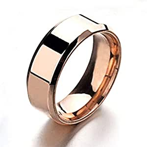 Titanium steel rings 8MM mirror Unisex's simple Ring Casual Fashion Rings