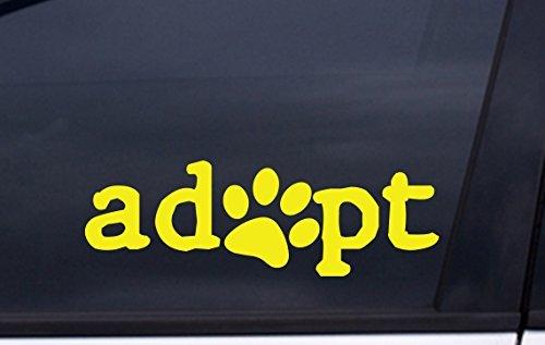 focenterprises-adopt-dog-paw-decal-2x6-yellow-rescue-pound-puppy-sticker