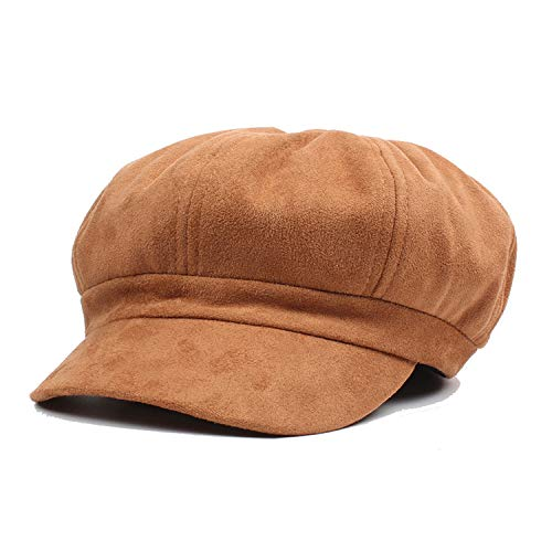 - Newsboy Caps Suede Leather Female Casual Vintage Flat Cap Berets British Style Spring Classic Octagonal Hats Brown
