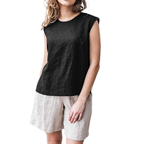 ✿HebeTop✿ Women's Short Sleeve Cotton Linen Jacquard Blouses Top T-Shirt Black ()