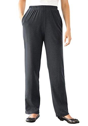 Women's Plus Size Tall Straight Leg 7-Day Knit Pants Heather