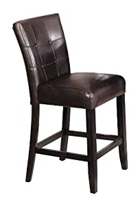 ACME 07055 Set Of 2 Counter Height Chair, 24 Inch Height, Brown