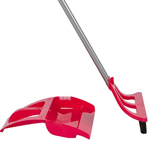 (WISPsystem Best 90 Degree Angle One-Handed Broom with Dustpan and Telescoping Handle w/Bristle Seal Technology (Red))