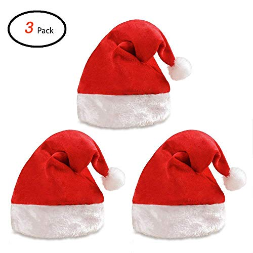 Santa Hat Gift - Santa Hats for Adults with Plush Trim Classic Red Christmas Hat for Kids Velvet Santa Costume Hat (3 Pack)