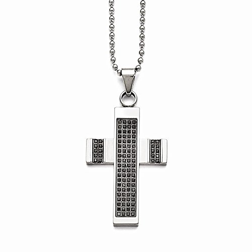 Stainless Steel Polished 1/2ct tw. Diamond Cross Necklace (1/2 Ct Tw Diamond Cross)
