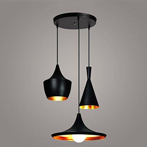 JiaYouJia 3 Lampes Suspensions Lustres avec Abat-jour en Aluminium Décoration pour Cafe Bar Restaurant Salle à Manger Moderne Dais Rond