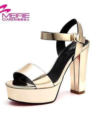 ShangYi MeiRieS Womens Shoes Patent Leather Chunky Heel Heels/Peep Toe/Open Toe Sandals golden