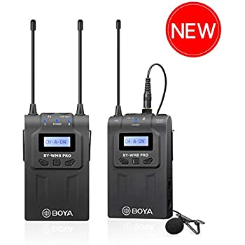 Wireless Lavalier Microphone Smartphone, BOYA Dual-Channel System Transmitter & Receiver for DSLR Camera Recorder iPhone X 8 7 6 Samsung Youtube Street Interview Facebook Livesteam Vblog