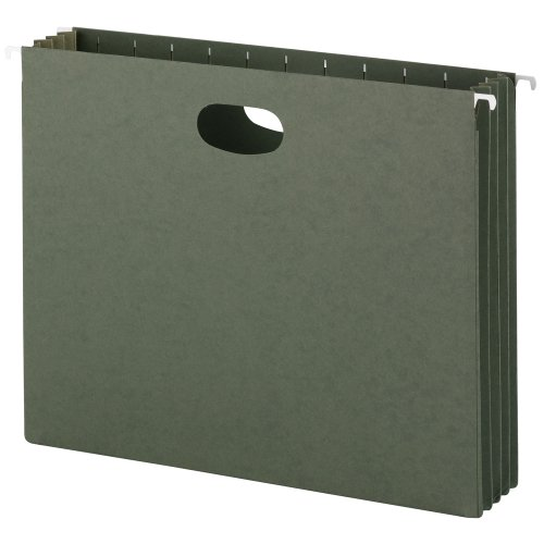 Smead Hanging File Pockets, 3-1/2 Inch Expansion, Letter Size, Standard Green, 10 Per Box - Pockets Hanging Expanding