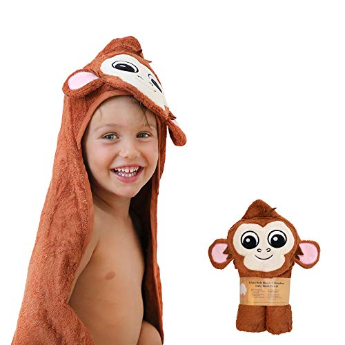 - Sonnellino | Baby Hooded Towels | Snoozy Bug Series Premium Plush 500 GSM Organic Bamboo | Infants, Toddlers, Boys & Girls (Monkey)