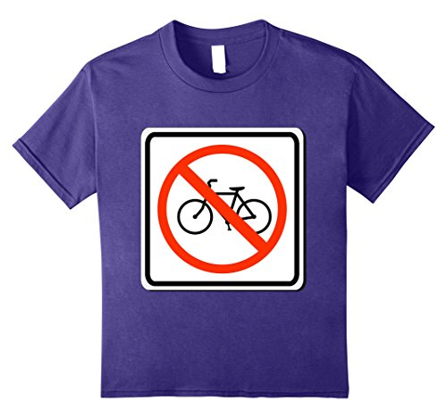 Last Minute School Appropriate Halloween Costumes (Kids No Bicycles Allowed Sign Simple Halloween Costume T-Shirt 8 Purple)