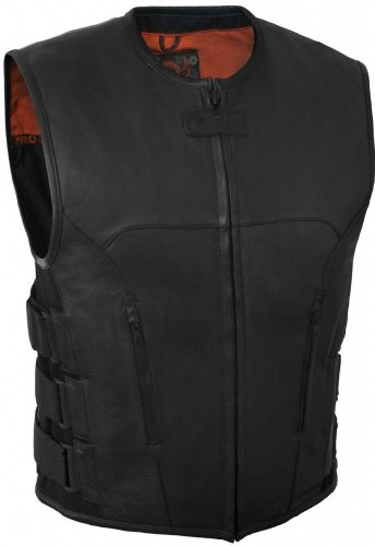 True Element Mens Swat Team Style Leather Motorcycle Vest with Side Size Adjustment (Black, Medium)