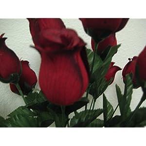 "BLACK RED Rose Bud Bush 14 Artificial Silk Flowers 17"" Valentine Bouquet 643BKRD 5"