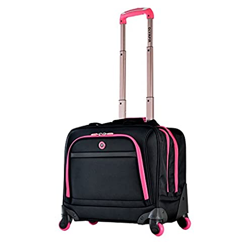 Olympia Business Rolling Tote, Black/Pink - Pink Laptop Tote