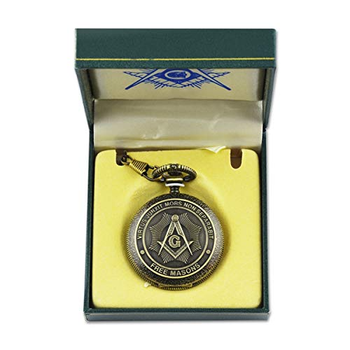 Shining Square & Compass Antique Brass Masonic Pocket Watch - 2