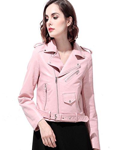 Look Biker Jacket - LY VAREY LIN Women's Faux Leather Motorcycle Jacket PU Slim Short Biker Coat (L, Pink)