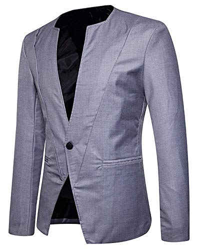 Botón Blazer Casual 1 Sólido Chaqueta De Para Hombre Ajustado Traje Outwear Ropa Color Rauchfarben Aq8wEqz