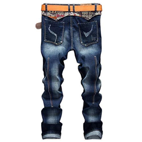Bomba Rasgada Mortero Mediana Ajuste Azul Joven De Sin Yasminey Denim Vaqueros Pantalones Micro Hombres Delgado Cintura De Recta YxRUaXq4