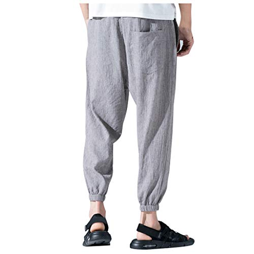 yiqianzhaobiao_Pants Men Trousers Men Elastic Waist Boho Check Pants Baggy Wide Leg Summer Casual Yoga Capris Gray