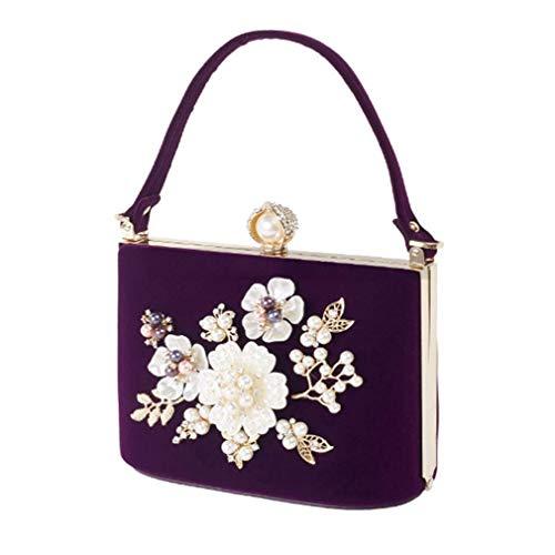 Dames Luxe Sac Perle Purple YANXH De Bourse Velour Mode De Main Fête Femmes Sacs Jour De De Mini À De Cristal Clutch Soirée Mariée Mariage De dRwRPq8x
