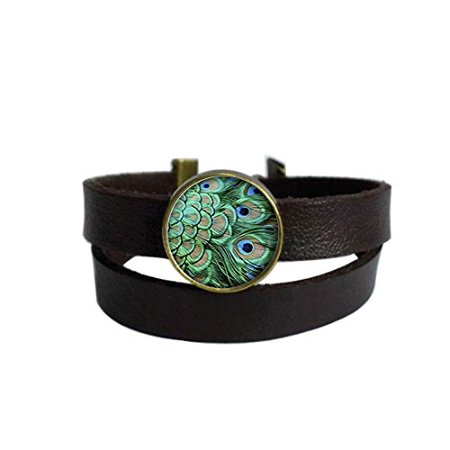 LooPoP Vintage Punk Dark Brown Leather Bracelet Green Peacock Feather Photo Belt Wrap Cuff Bangle Adjustable -