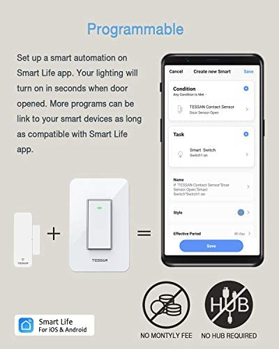 Smart Door Sensor 2 Pack, TESSAN WiFi Window Contact Sensor Work with Amazon Alexa, Google Assistant, No Hub Required, Trigger Phone Notification, Wireless Alarm, Programmable with Smart Life Devices