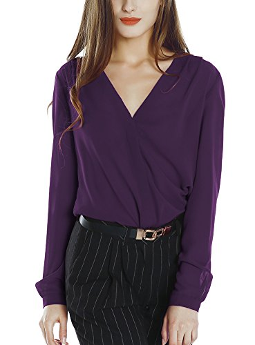 Womens V Neck Long Sleeve Ruffled Shoulder Solid Chiffon Blouse (Small, (Purple Chiffon)