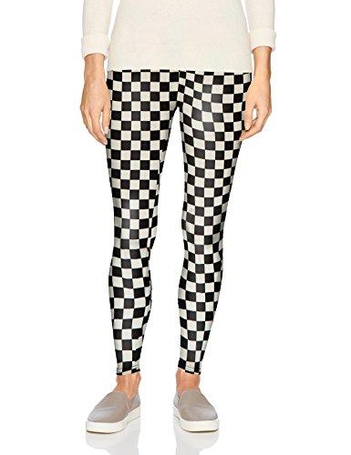 Carnival Women's Full-Length Printed Soft Microfiber Legging, Black Checkerboard, Large