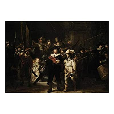 The Night Watch by Rembrandt Van Rijn - Dutch Golden Age Painter - Peel and Stick Large Wall Mural, Removable Wallpaper, Home Decor - 66x96 inches