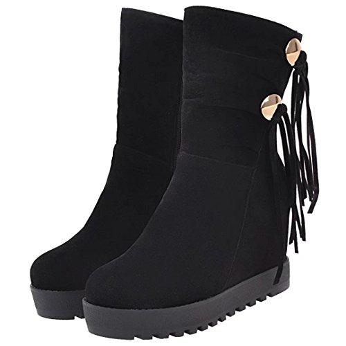 Aiyoumei Kvinna Dragkedja Höjd Ökande Kilar Vinter Tofs Boots Svart