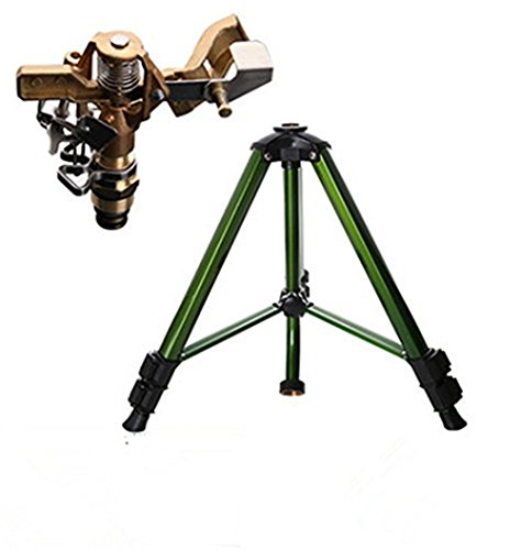 Malxs Tripod Base with Garden Brass Impact Impluse Sprinkler, Adjustable 0° to 360° Pattern,Area Coverage-Up to 50′-70′ Diameter (100621)
