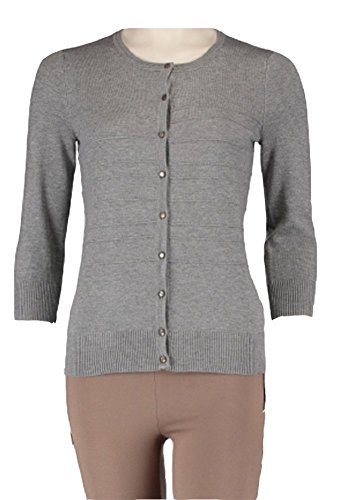 (Cable & Gauge Ladies Button-Front Cardigan Heather Grey Small)