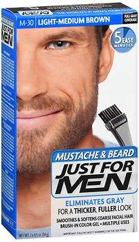Just For Men Mustache & Beard Brush-In Color Gel Light-Medium Brown M-30 - 1 ea, Pack of 3 COMBE INCORPORATED