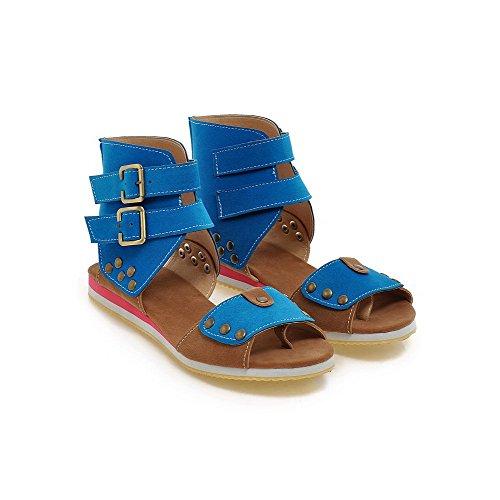 AgooLar Mujeres Hebilla Puntera Abierta Mini tacón Sintético Colores Surtidos Sandalia Azul