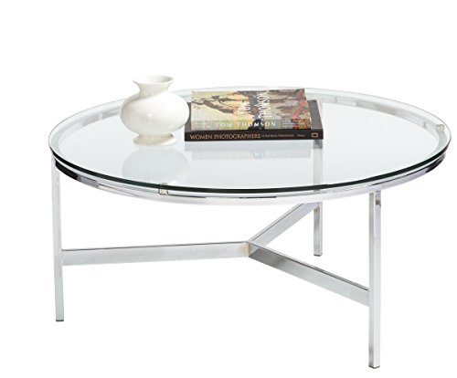 round chrome coffee table - 9