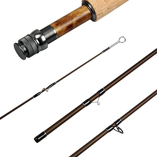 AnglerDream Caster Fly Fishing Rod 4 Sections 30T Carbon Fiber Blanks Medium-Fast Action Matt Brown LT Gun Metal Reel Seat with Burl Wood Insert Stainless Steel Snake Guides Fly Rod with Plastic Tube