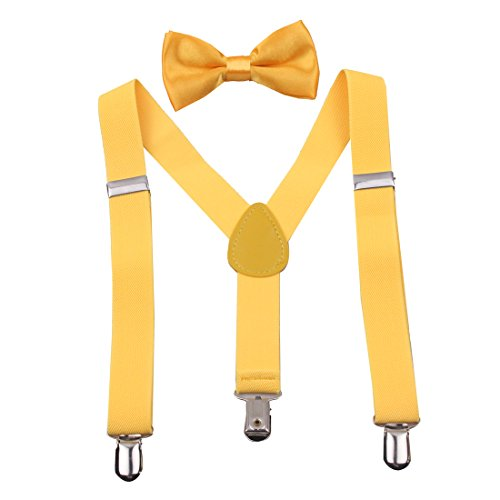 GUCHOL Baby Toddler Suspenders Bow Tie Vest Set - Adjustable Easy to Wear Bowtie for Kids Outfit Birthday(Yellow) -