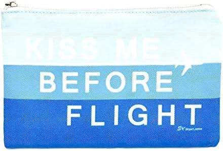 [スカイアートジャパン] トラベルポーチ KISS ME BEFORE FLIGHT ブルー