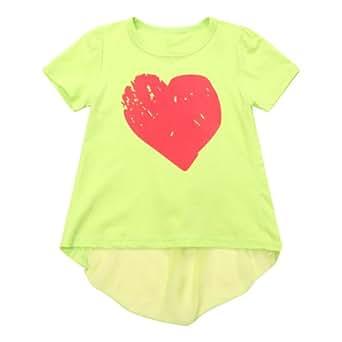 Richie House Girls' Short sSleeve with Heart-shaped Print RH1546-A-2/3