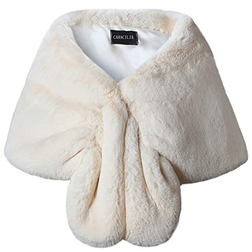 Winter Hugs Bear - Caracilia Women's Beige Classic Faux Fur Mink Winter Wedding Party Shawl White mibai L CAFB4