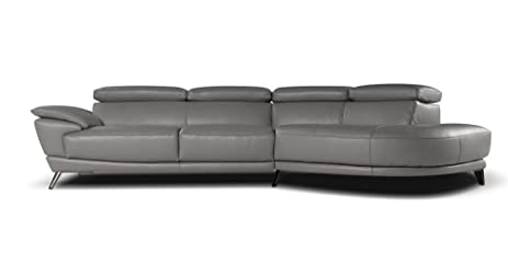 Marisol Italian Leather Sectional Right Facing Chaise Grey  sc 1 st  Amazon.com : italian leather sectional with chaise - Sectionals, Sofas & Couches