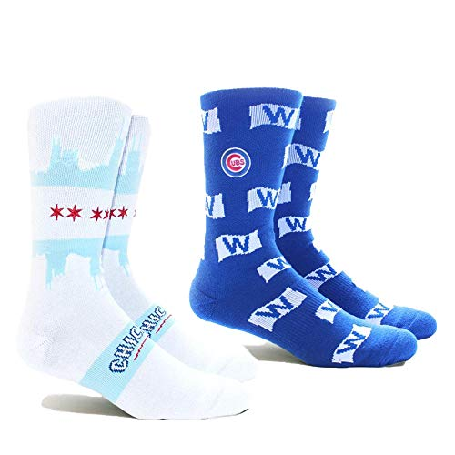 PKWY by Stance MLB Unisex Mixed 2-Pack Crew Socks (Medium, Chicago Cubs (Chi City & Win Flag))