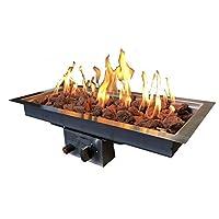 Enjoyfires Einbaubrenner 60x30x14 cm für Feuerstelle Gasfeuerstelle Rostfreier Stahl ✔ eckig ✔ Grillen mit Holzkohle