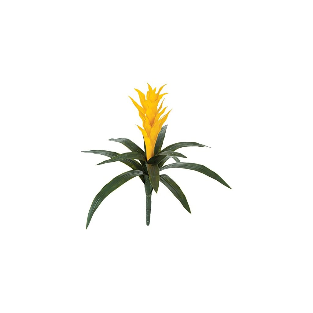 SilksAreForever 22″ UV-Proof Outdoor Artificial Bromeliad Plant Flower Bush -Yellow (Pack of 2)