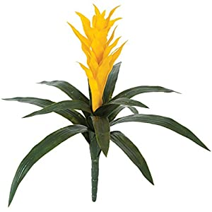 "SilksAreForever 22"" UV-Proof Outdoor Artificial Bromeliad Plant Flower Bush -Yellow (Pack of 2) 49"