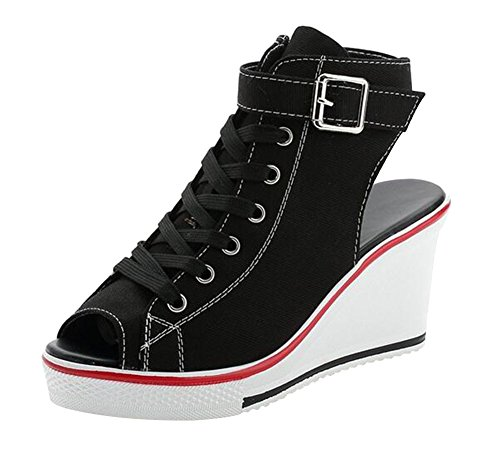 Chaussure wealsex Grande 35 Sport Toile Baskets Ouvert Compensée Bout Taille Mode Sneakers 41 Lacets Chaussures de Femme Boucle Casual Sandales ZxxWrT