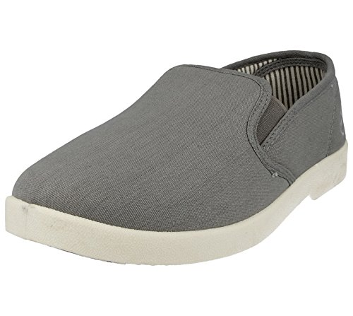 New Mens Dr Keller Canvas Casual Slip On Wide Fit Comfort Bar Deck Trainers Pumps Loafer Flats Shoes - UK Sizes 6-11 Grey XzIXcVnf