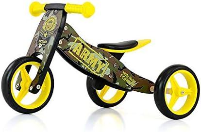 JAKE Bicicleta 2 en 1 Triciclo y bicicleta de madera, vehículo para niños con ruedas de espuma, Modelo:Jake Army: Amazon.es: Bebé