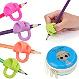 Pencil Grips, ChenYi Silicone Ergonomic Writing Aid Grip for Righties and Lefties, Children Posutre Corretion Training Tool for Kids Adults Students Special Needs, Assorted Colors (4PCS)
