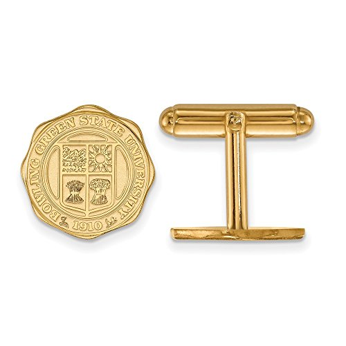 Jewel Tie 14k Yellow Gold Bowling Green State University Crest Cuff Link (15mm x 15mm)